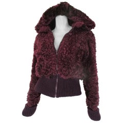 Curley Lamb fur bomber jacket with hood