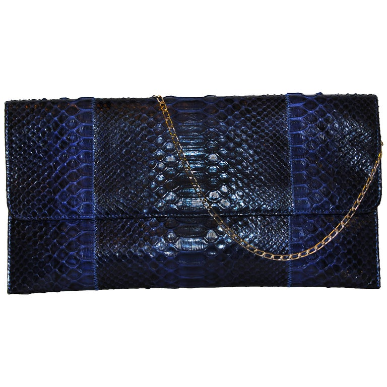 Carlos Falchi Blue Python Clutch Bag  1
