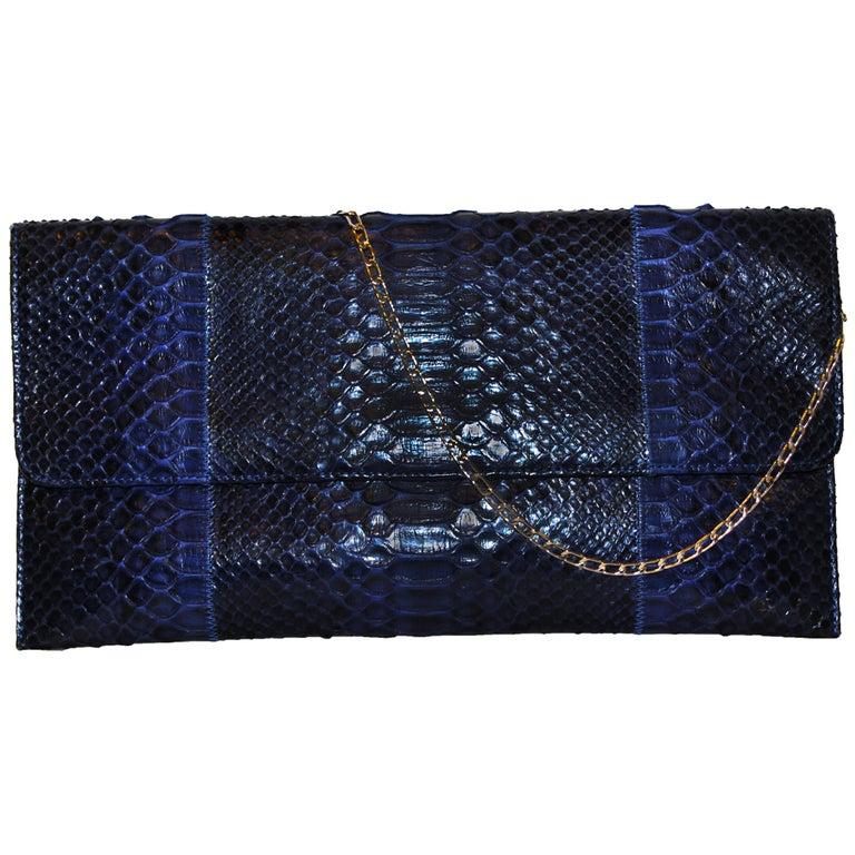 Carlos Falchi Blue Python Clutch Bag  For Sale