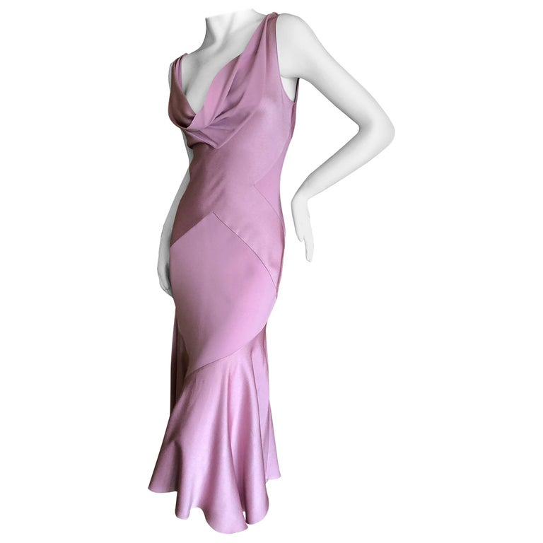 John Galliano Bias Cut Pink Diamond Pattern Cowl Draped Vintage Dress New w Tags 1