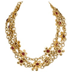 Chanel Red Gripoix Flower Necklace