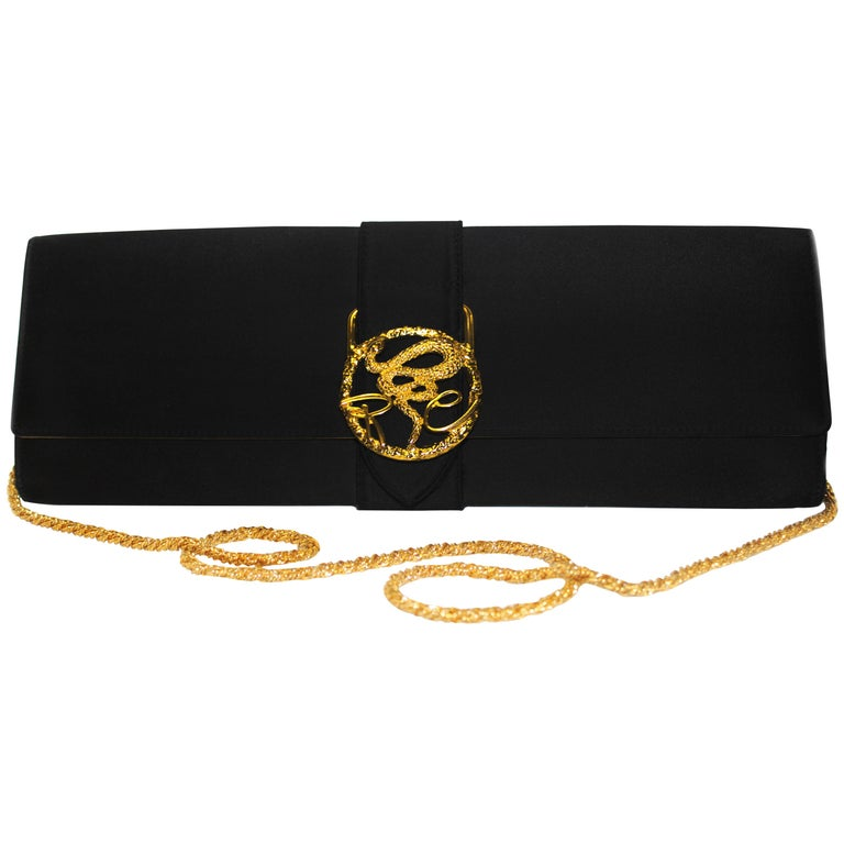 Roberto Cavalli Black Satin Clutch Bag  For Sale