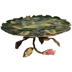 Exquisite Jay Strongwater 3 Roses and Leaves Enameled Metal Compote Cake Holder