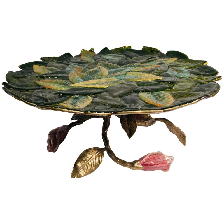 Exquisite Jay Strongwater 3 Roses and Leaves Enameled Metal Compote Cake Holder For Sale