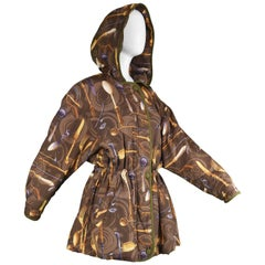 Louis Feraud Vintage Silk Blend Women's Novelty Cutlery Print Parka Coat, 1980s