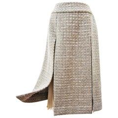 Chanel Beige Grey Tweed Sequin Skirt AW 2000