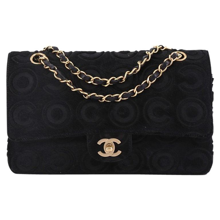 eb1ef4317e62 Chanel Vintage Classic Double Flap Bag Coco Pony Hair Medium For Sale