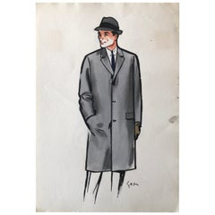 Rene Gruau Original Mens Fashion Illustration Gray Overcoat and Fedora