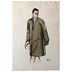 Rene Gruau Original Mens Fashion Illustration Brown Overcoat