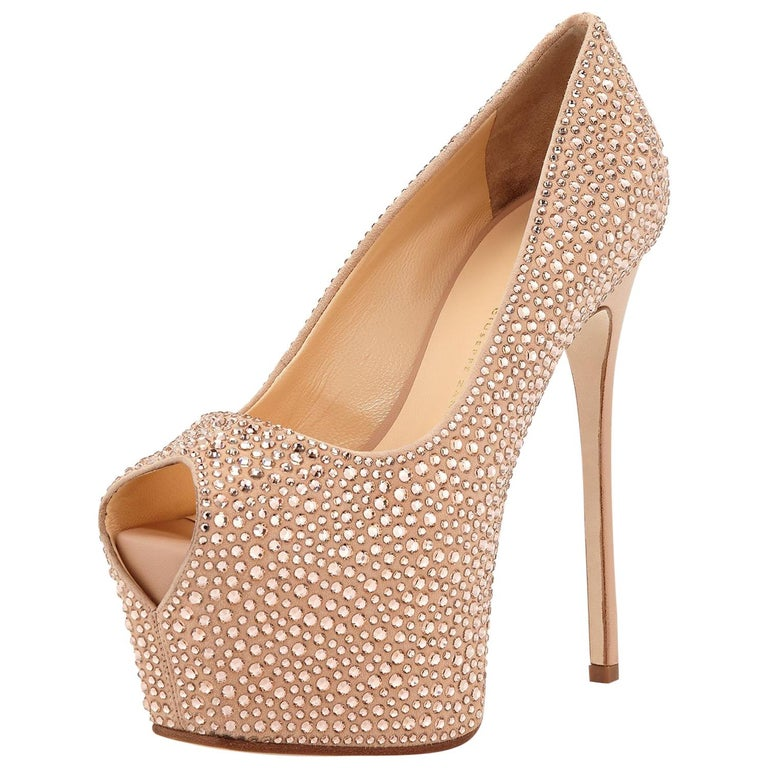 97c1dd74708 New Giuseppe Zanotti Rhinestone -Embellished Nude Platform Peep -Toe Pumps  38.5 For Sale