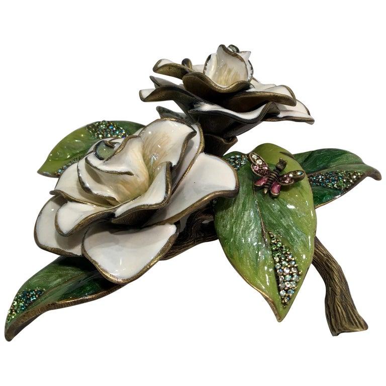 Exquisites Jay Strongwater Jeweled Emaille Gardenia Blumen Objet d ' Art 1