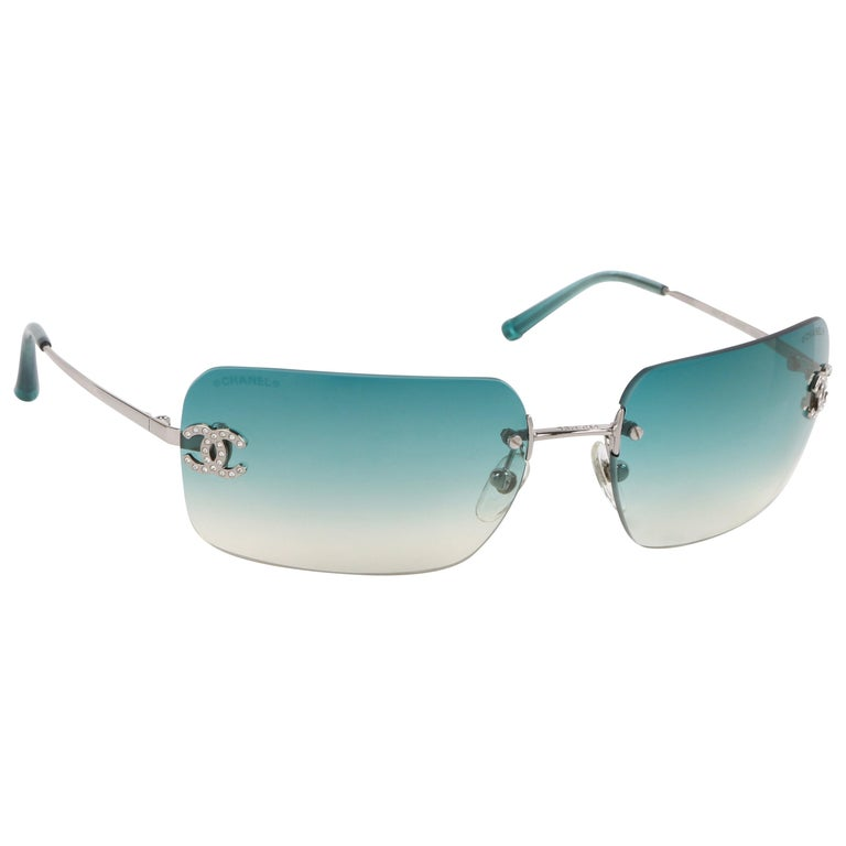 b46b4fc82d2f6 CHANEL Teal Blue Gradient Lens Crystal Rhinestone CC Rimless Sunglasses  4017-D For Sale