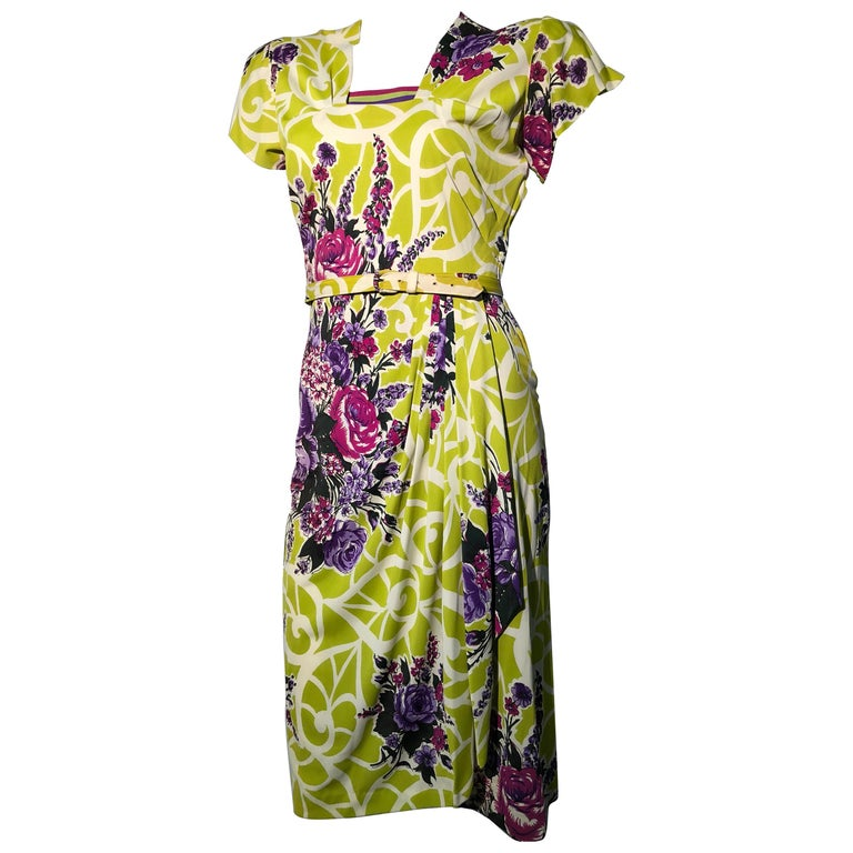 Incredible 1940s Nylon Jersey Swing Dress In A Spectacular Chartreuse and Floral For Sale