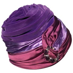 1950s Tri-Color Purple Burgundy and Rhinstone Turban-Styled Evening Hat