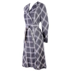 Pauline Trigere Grey & White Plaid Coat Dress w/ Belt