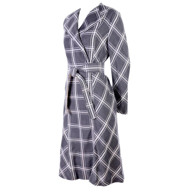 Pauline Trigere Grey & White Plaid Coat Dress w/ Belt For Sale