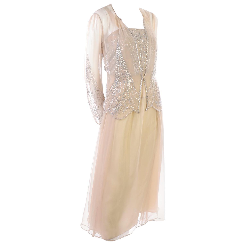 Vintage Tan Jack Bryan 1920s Style Beaded Dress With Sheer Chiffon Jacket