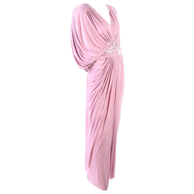 Vintage Tadashi Dress 1980s Pink Jersey Evening Gown W/ Beads Sequins & Draping 1