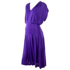Jean Muir London Vintage Purple Rayon Jersey Dress