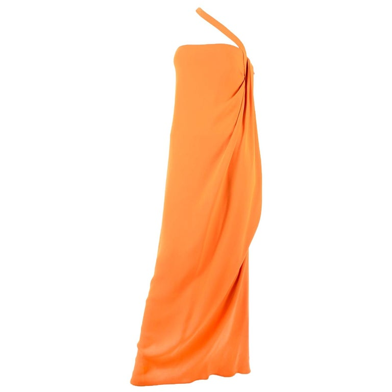 Oscar de la Renta 2008 Orange Silk Jersey Grecian Style Dress W Asymmetric strap For Sale