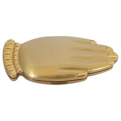 Volupte Home Coming Queen Golden Gesture hand figural compact in original box
