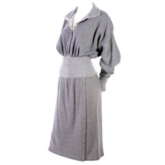 1980s Norma Kamali OMO Gray Fleece Sweatshirt 2 pc Dress w Skirt & Top