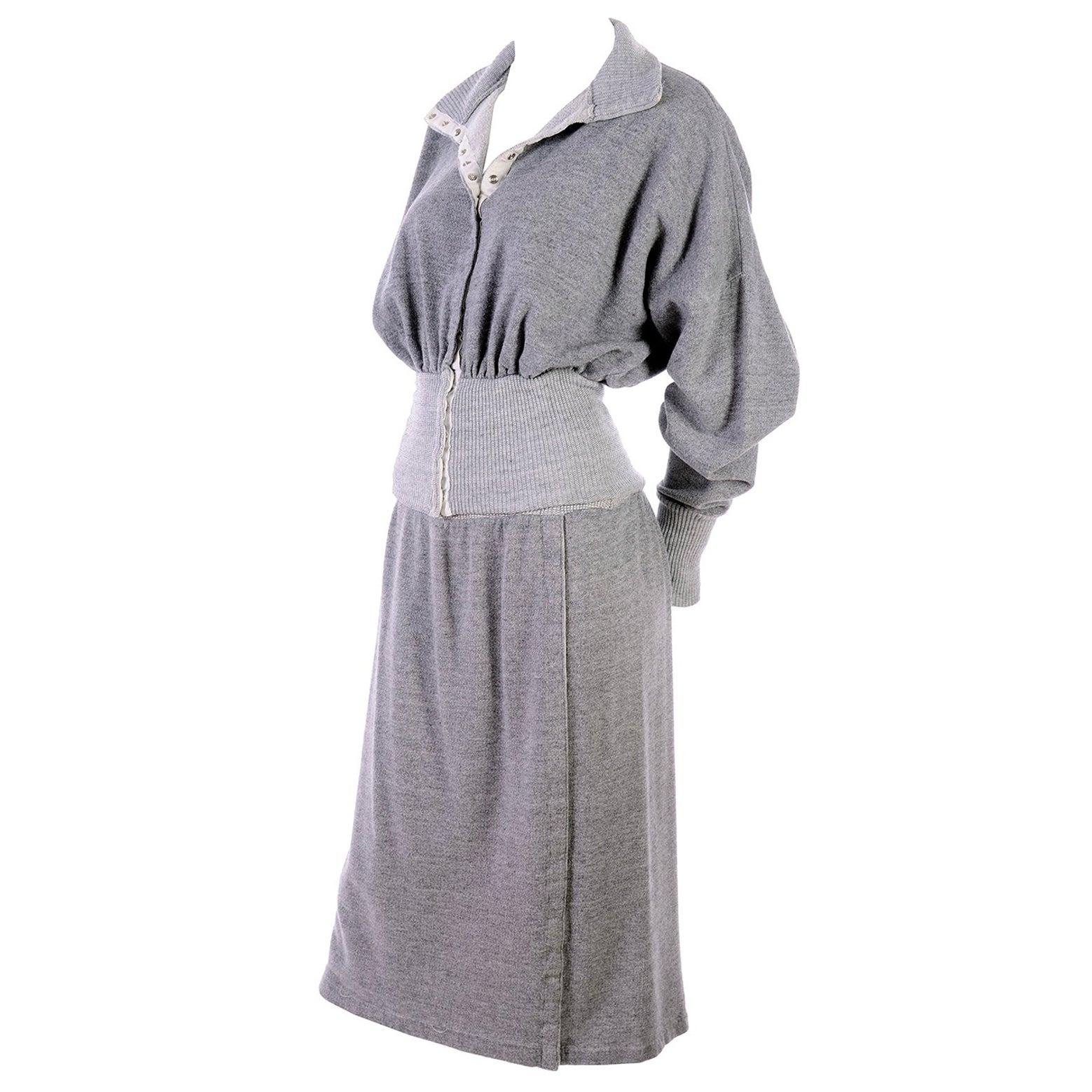 1980s Norma Kamali OMO Gray Fleece Sweatshirt 2 pc Dress w Skirt & Top