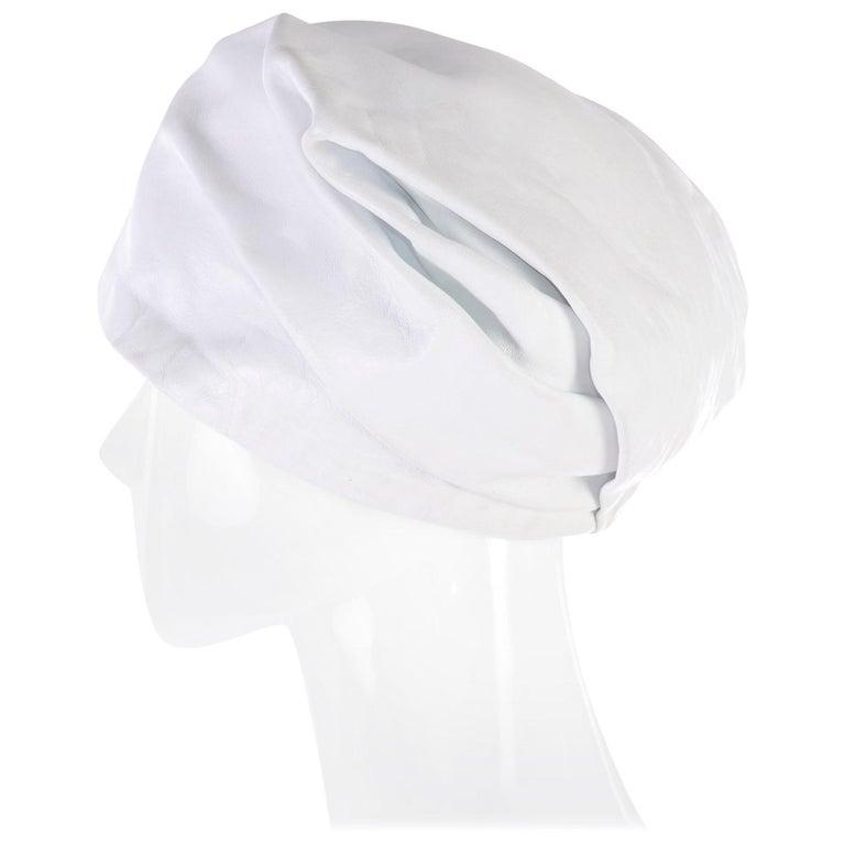1960s Yves Saint Laurent White Leather Folded Turban Style Hat