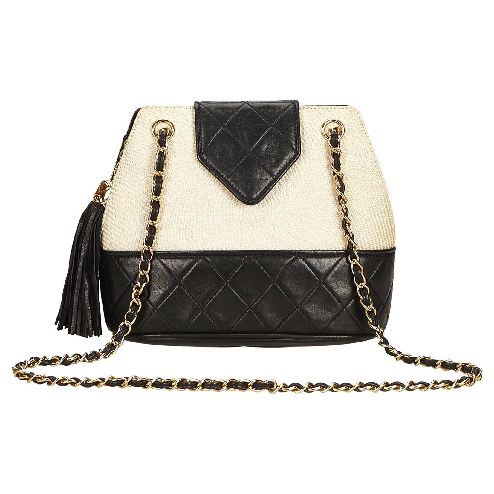 9e22567a07b1 Chanel White Woven Raffia Chain Shoulder Bag at 1stdibs