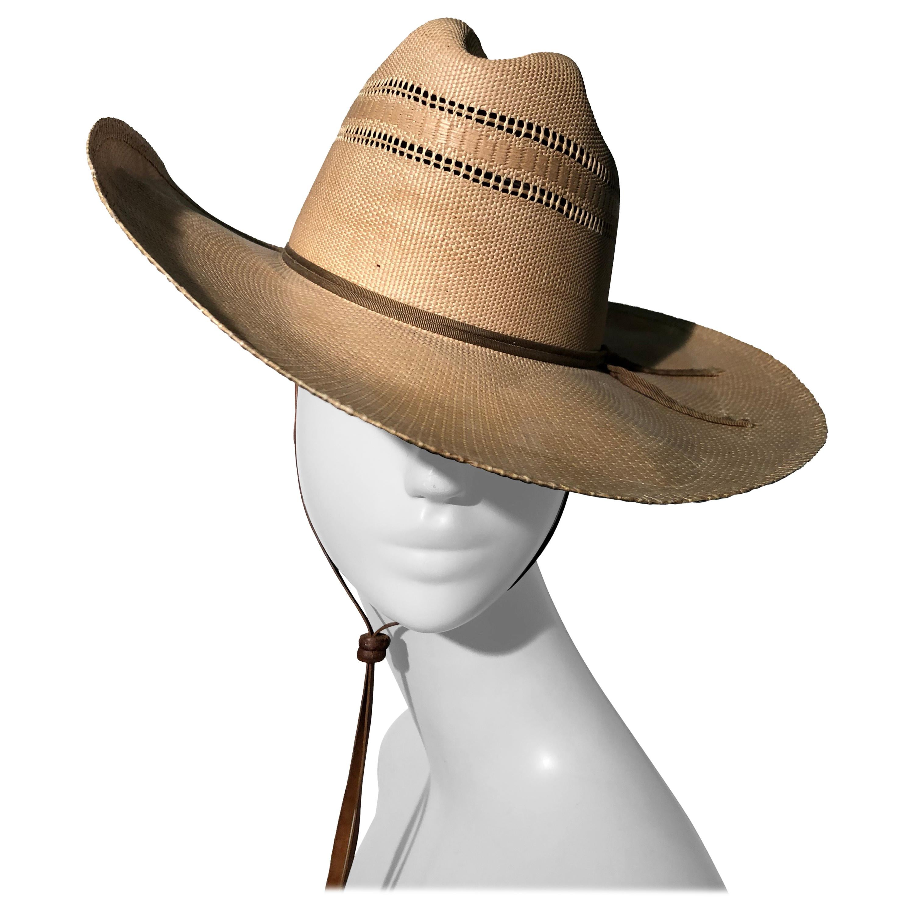 1950s Resistol Woven Straw Cowboy Western Hat W/ Leather Chin Strap
