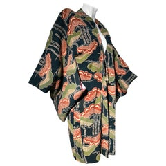 1940s Traditional Silk Kimono in Stylized Ginko Print Of Green Orange & Black