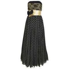Vintage Escada Black and Gold Strapless Polkadot Lamé Cocktail Dress