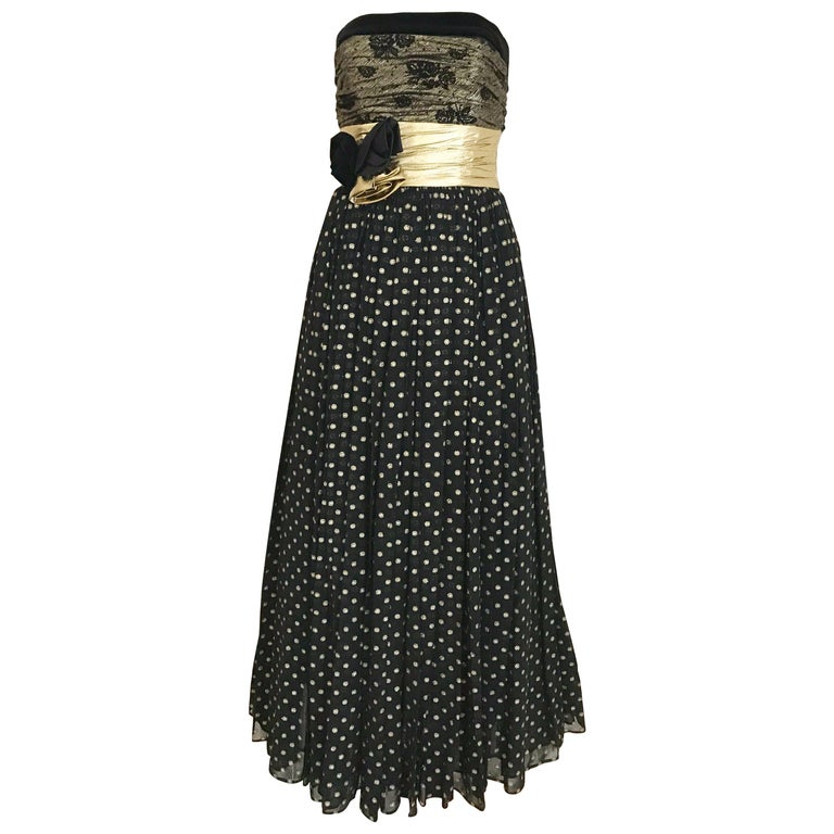 Vintage Escada Black and Gold Strapless Polkadot Lamé Cocktail Dress For Sale