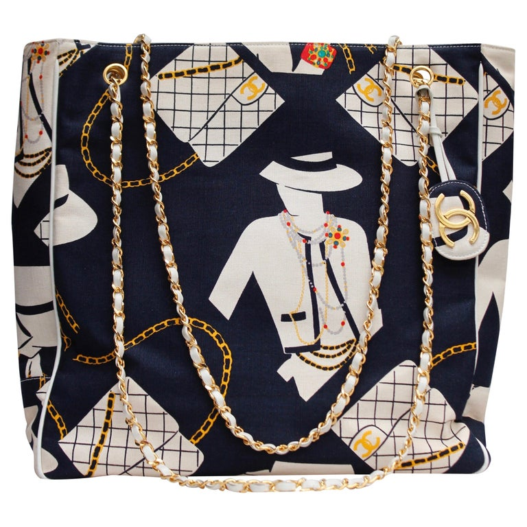 "Chanel ""Coco Silhouette""s collector shopping bag in navy blue canvas For Sale"
