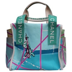 Chanel lovely collector handbag in turquoise canvas, 2005