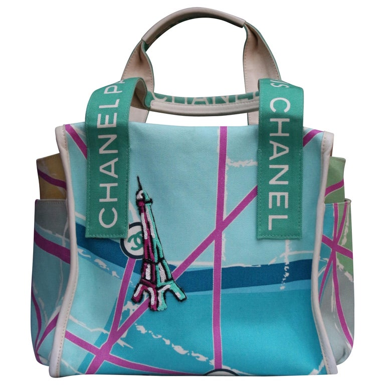Chanel lovely collector handbag in turquoise canvas, 2005 For Sale