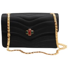 Chanel elegant evening jewel bag in black satin