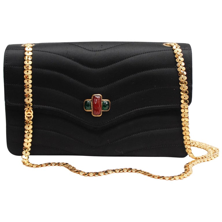 75e7b77967ac Chanel elegant evening jewel bag in black satin For Sale at 1stdibs