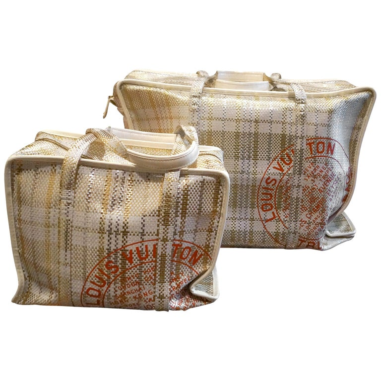 Louis Vuitton set x 2 Limited Edition White Braided Street Shopper Bags For Sale