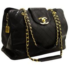 CHANEL Super Model Jumbo Large Chain Shoulder Bag Black Calfskin