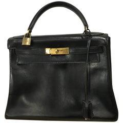 Hermès vintage 1950's black leather Kelly bag.