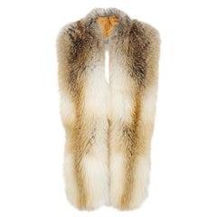 Verheyen London Legacy Stole Natural Golden Island Fox Fur - Lined in Silk & New