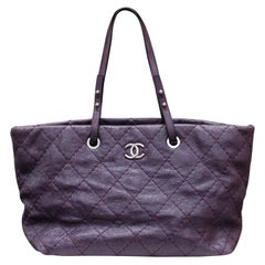Chanel tote bag in over stitched eggplant leather