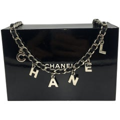 Chanel Leather Chain Logo Belt Black & Silver