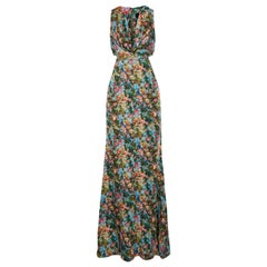 Cushnie Et Ochs Christina Cutout Floral-Print Silk Charmeuse Gown