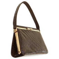 Exquisite Small Flip Top Crocodile Handbag-Gold Plated Frame