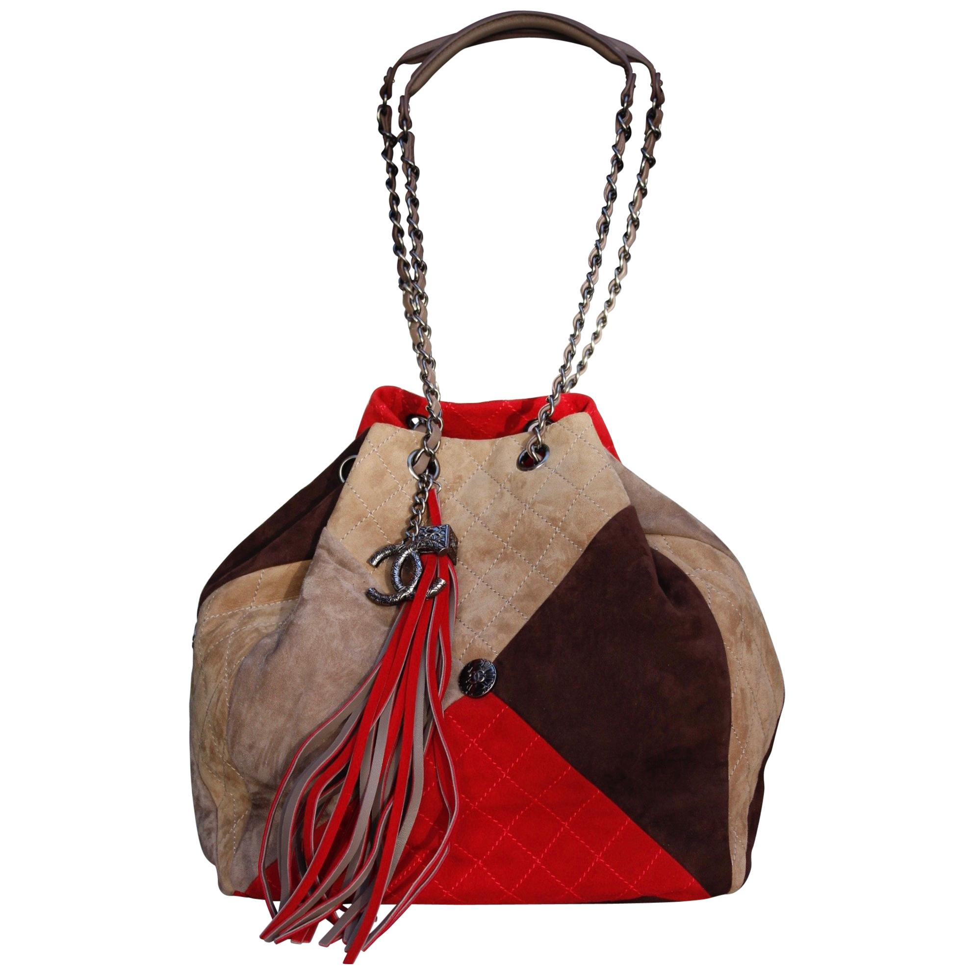 1e2dfd0f6599 Chanel large suede patchwork tote bag in beige, brown and red colors at  1stdibs