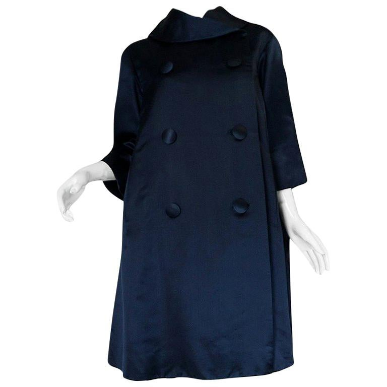 Fall 1958 Christian Dior by YSL Haute Couture Courbe Line Coat For Sale