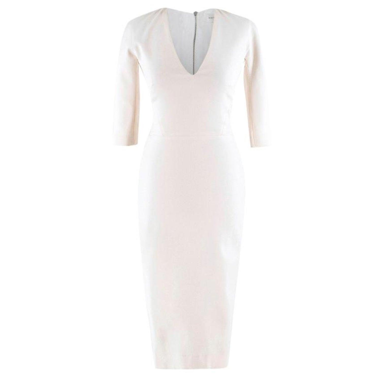 Victoria Beckham White V Neck Stretch Cady Dress
