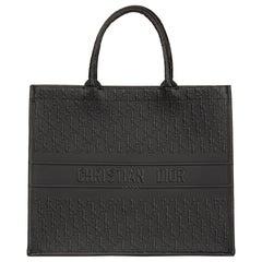 2018 Christian Dior Black Oblique Embossed Calfskin Leather Book Tote